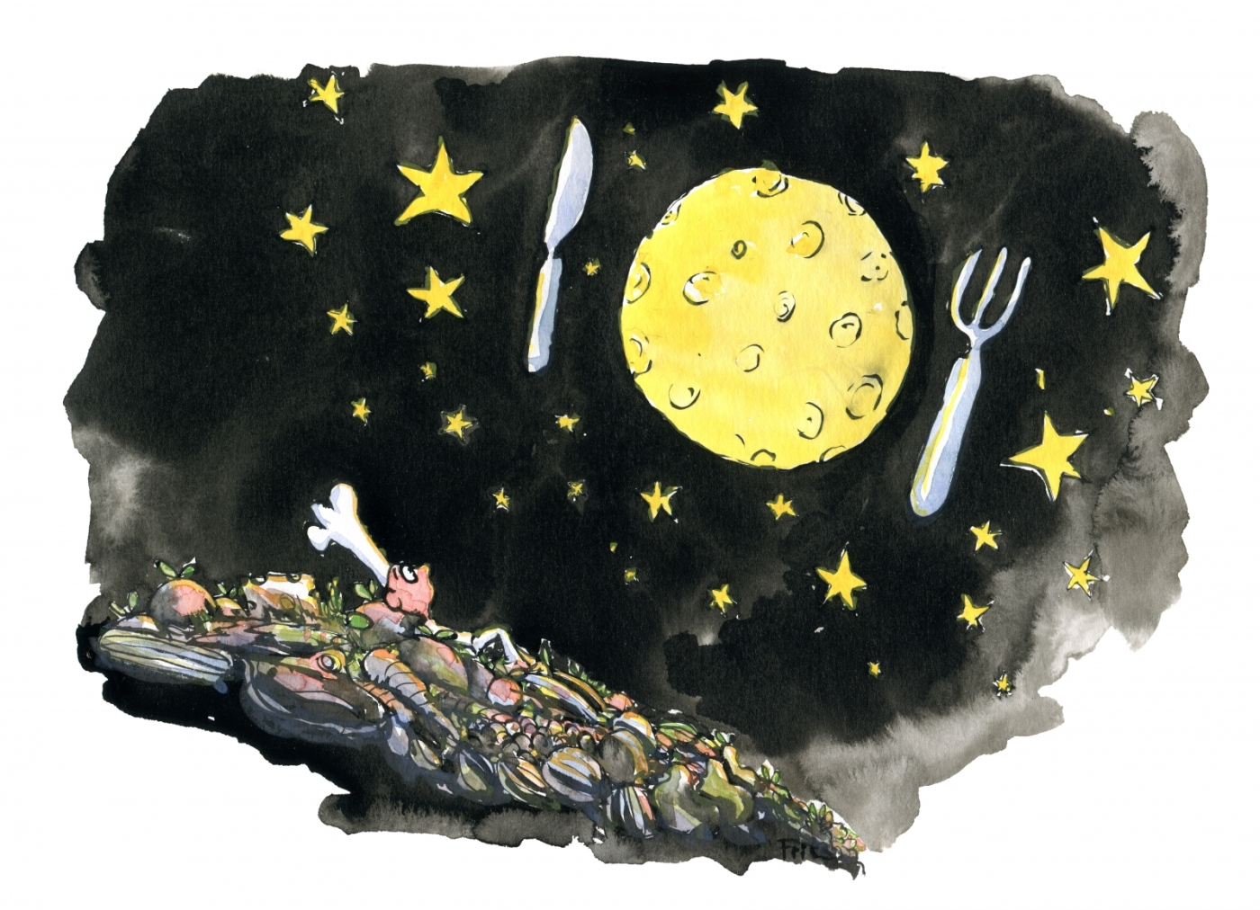 Drawing of a chief cook, looking up at the moon and stars, as a plate