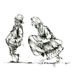 014-ink-sketch-man-woman-walking-with-instrument-package-people-by-frits-ahlefeldt-hat-square-fss1
