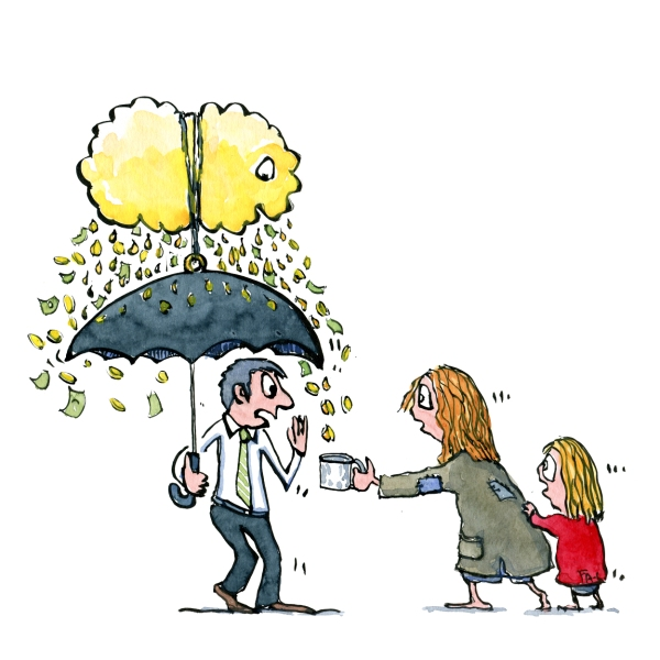 Digital money cloud umbrella and hungry people around him