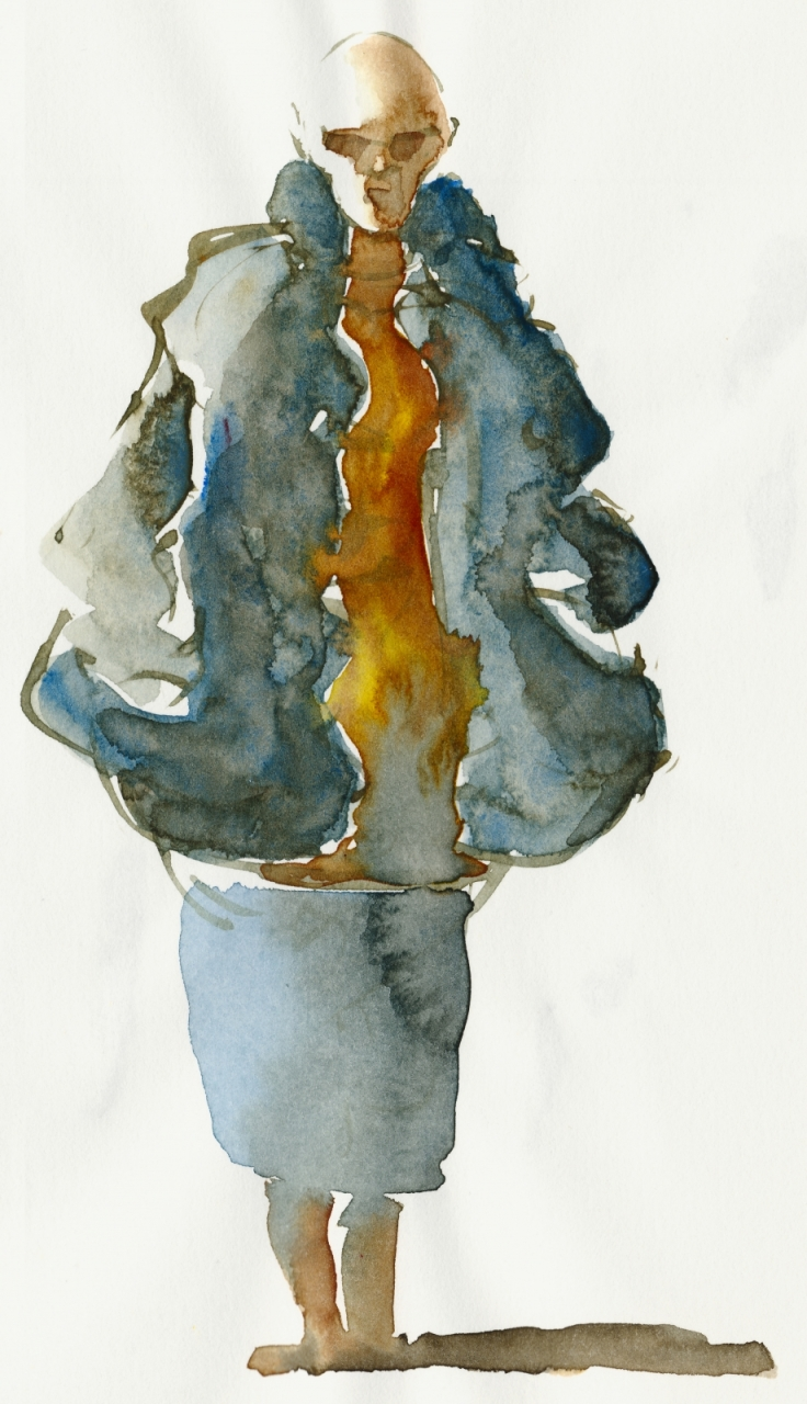 Watercolor of a bald woman with sunglasses