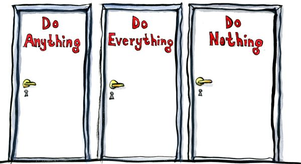 illustration showing three doors, do anything, do everything, do nothing