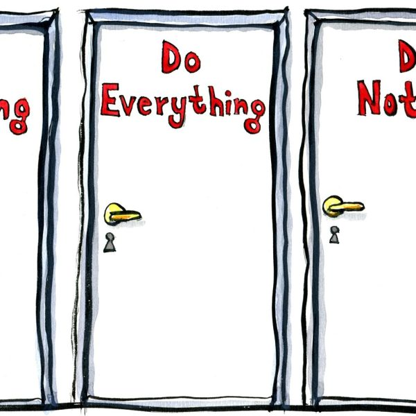 illustration showing three doors, do anything, do everything, do nothing