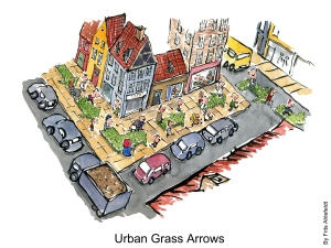 Drawing of a city with green grass arrows on the sidewalk
