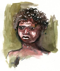 Watercolor people portrait by Frits Ahlefeldt