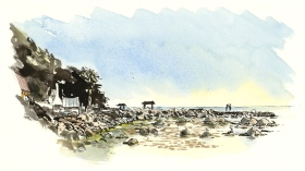 Small fishing harbour, south coast, Bornholm, Denmark. Watercolor