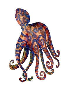 Tribal octopus creature with blue stripes swimming