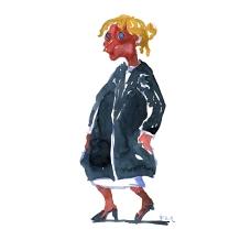 Woman in black dress - Watercolor people portrait by Frits Ahlefeldt