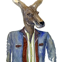 Kangaroo in clothes, watercolor by Frits Ahlefeldt