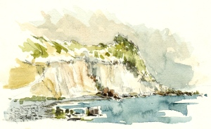 Coastline at Roenne, Bornholm, Denmark. Watercolor