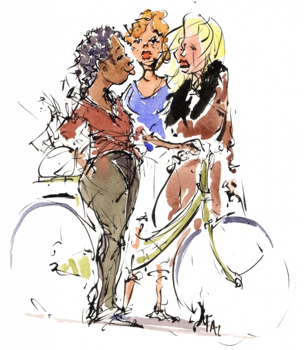 Drawing in color of three girls and a bike