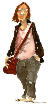 Man with shoulderbag, watercolor