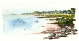 East coast, rocks, Bornholm, Denmark. Watercolor