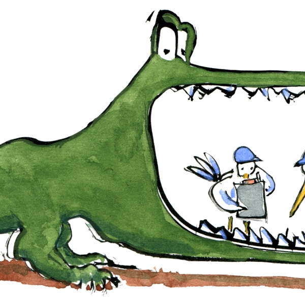 illustration of a Crocodile getting teeth fixed by birds