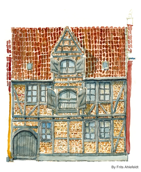 Old house, Watercolor from Christianshavn, Copenhagen, Denmark