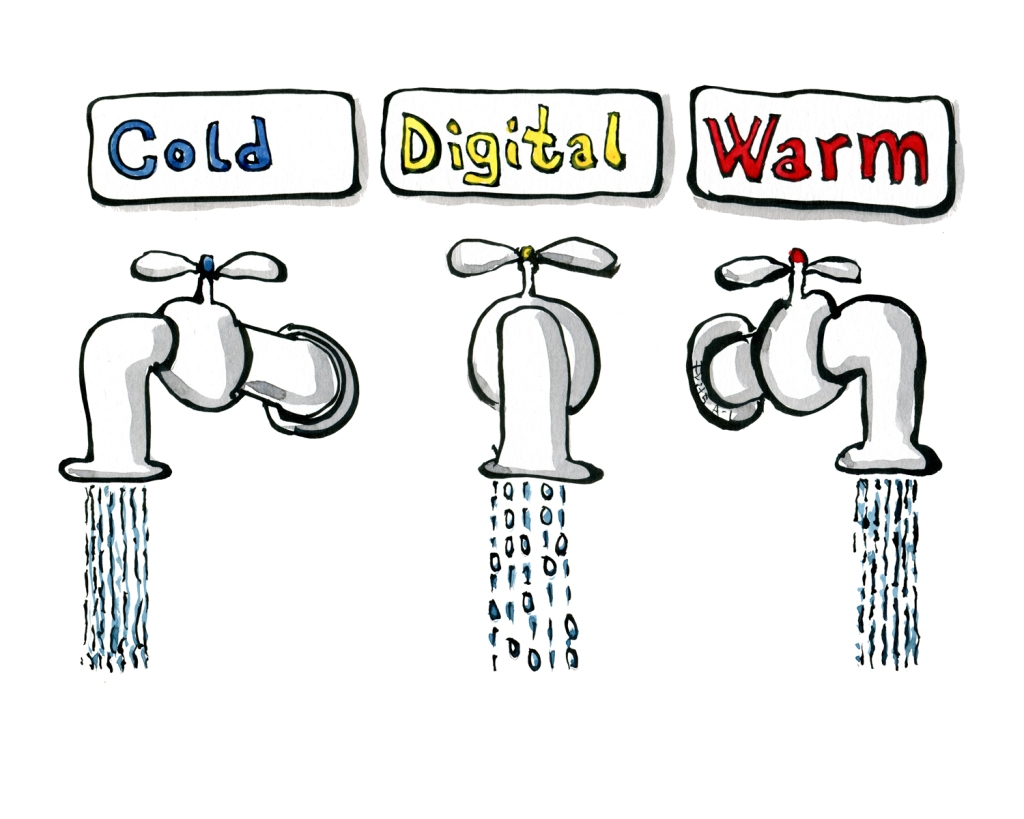 Wam, digital and cold water tap drawing by Frits Ahlefeldt