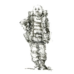 002-ink-sketch-bald-man-with-backpack-looking-hat-square-front-people-by-frits-ahlefeldt-fss1