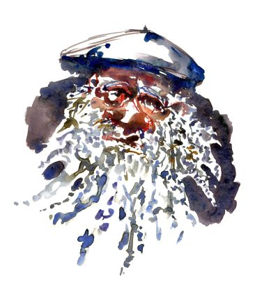 Man with hat and long beard - Watercolor people portrait by Frits Ahlefeldt