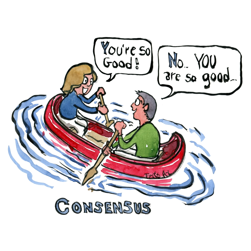 man and woman in canoe sailing in opposite direction, but complimenting each other
