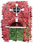 Watercolor from Copenhagen, Old door, red house