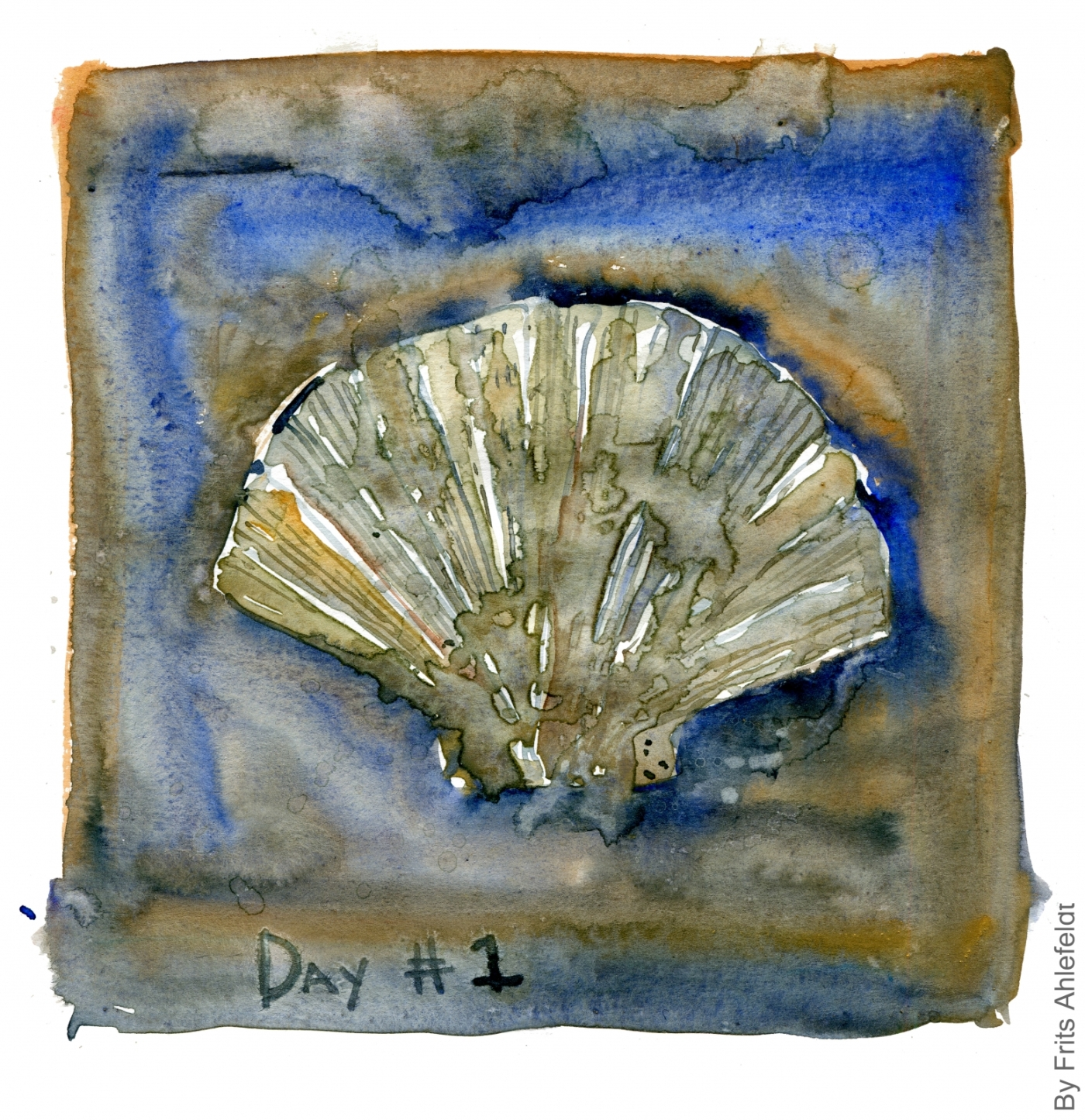 Shell in sand Watercolor