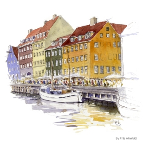 Nyhavn, ship, Copenhagen Watercolor painting by Frits Ahlefeldt