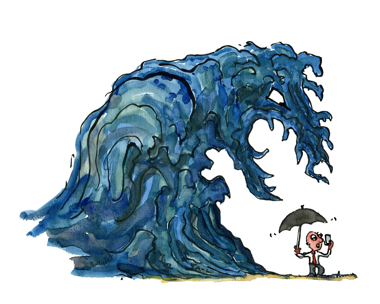 Huge wave approaching a business man on his phone with an umbrella to face the unexpected. Illustration by Frits Ahlefeldt
