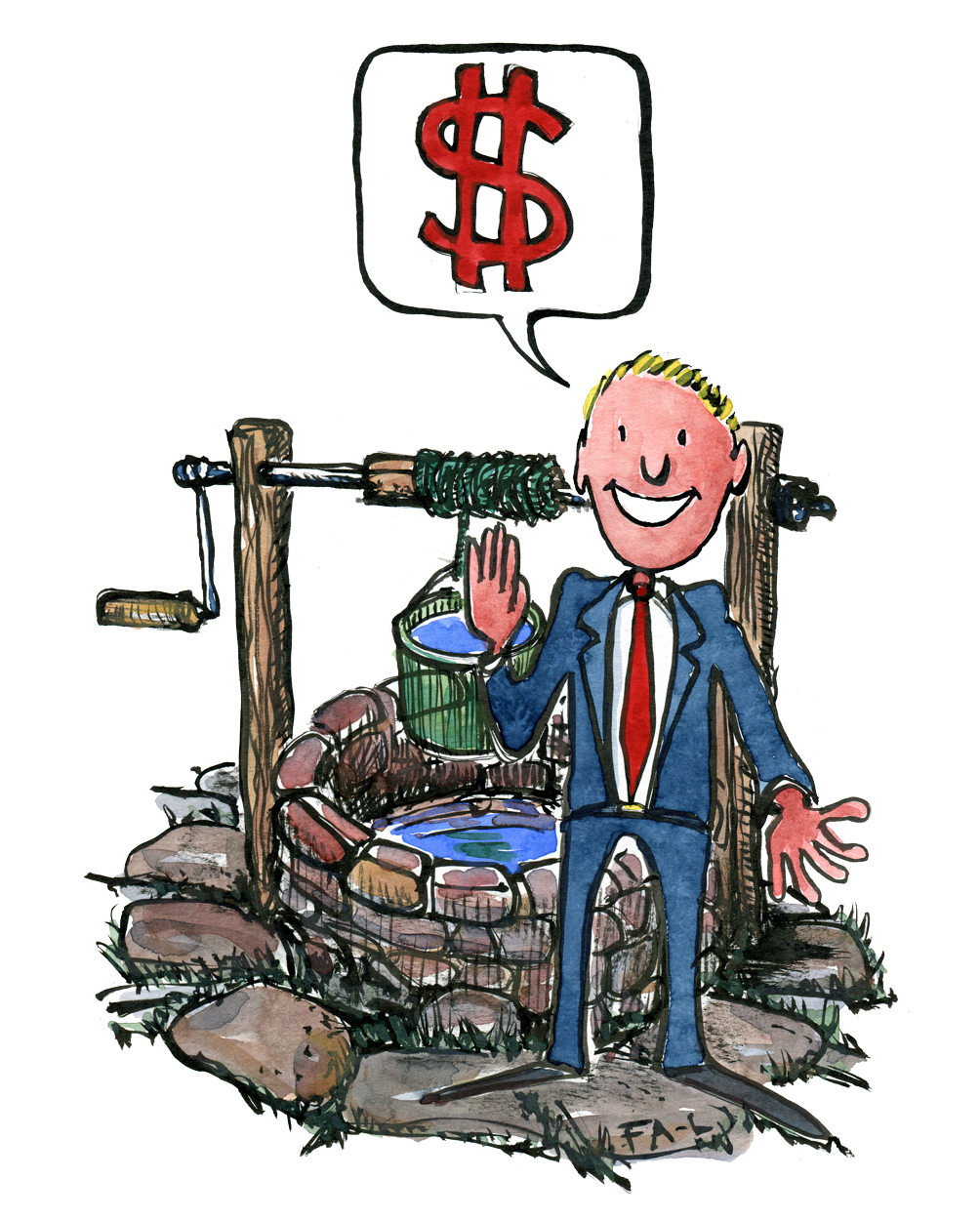 Illustration of man standing in front of a well, saying a dollar sign. Illustration by Frits Ahlefeldt