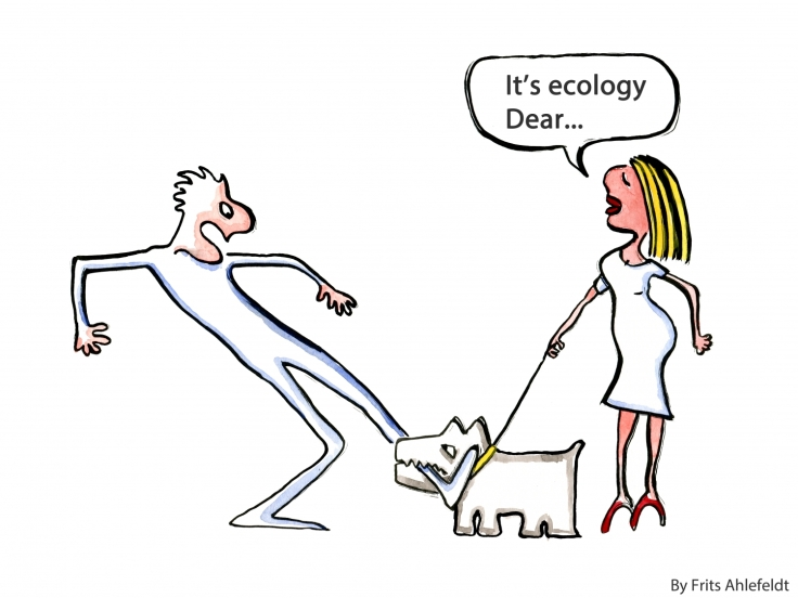 Drawing of a dog biting a man and a woman saying it's the ecology Dear