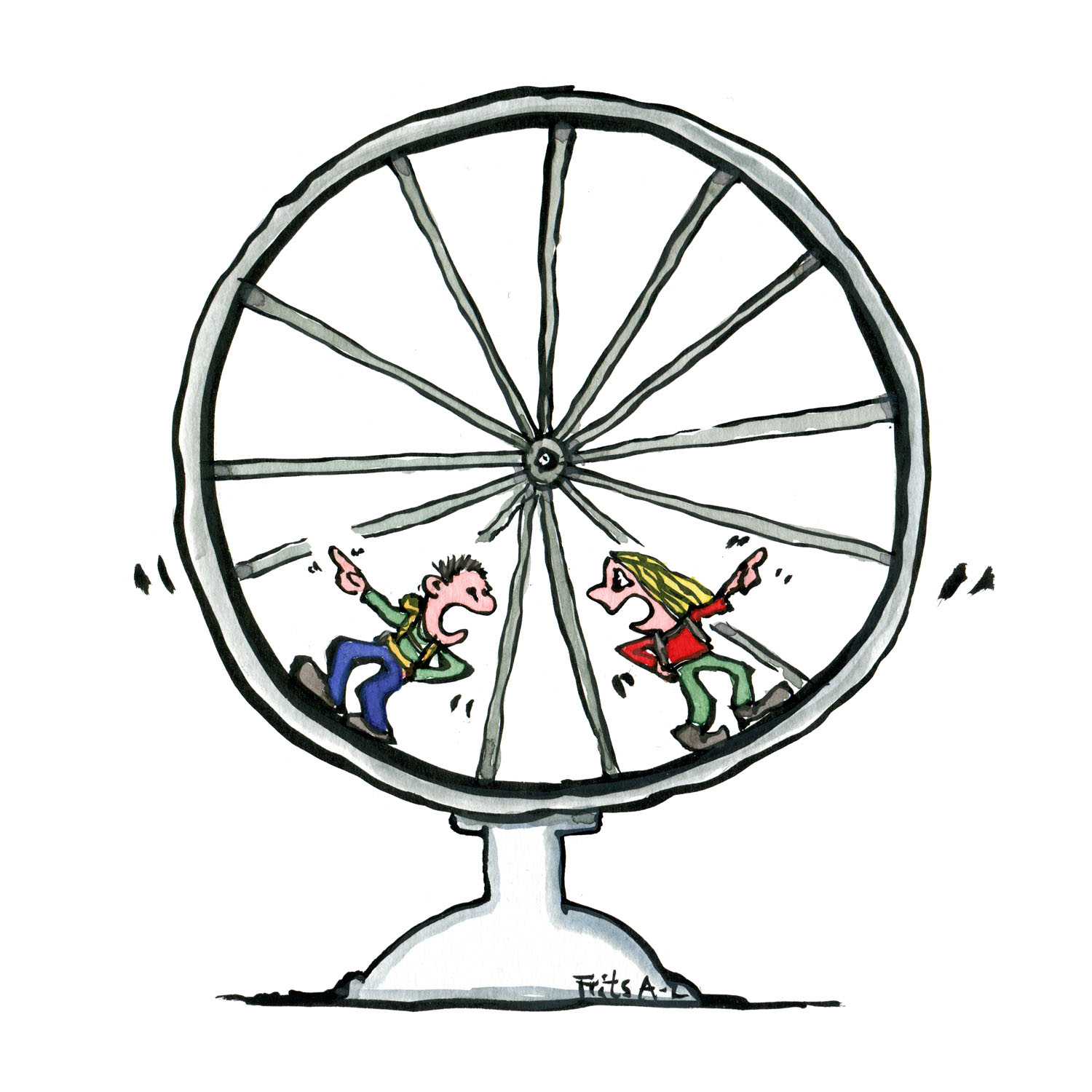 two people in a hamster wheel in a discussion