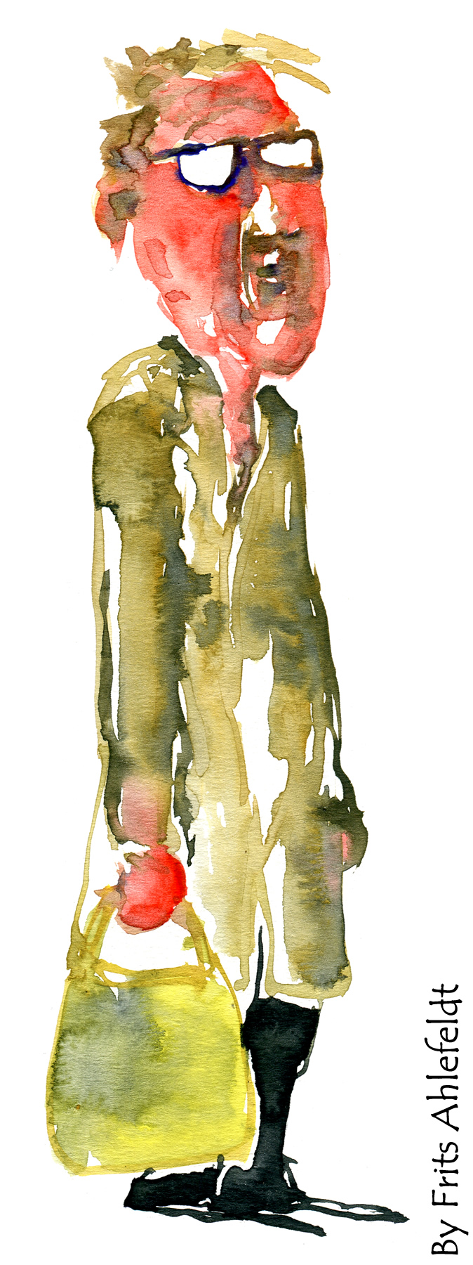 Man in cottoncoat with bag. Watercolor