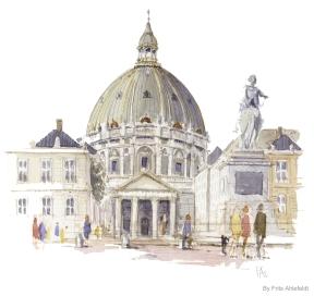 Marmor kirken Copenhagen Watercolor painting by Frits Ahlefeldt
