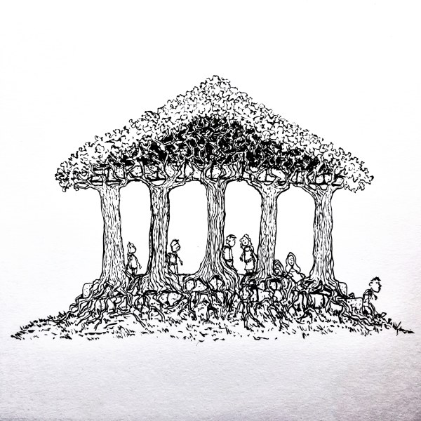 Treehouse looking greek temple of living trees. Drawing by Frits Ahlefeldt