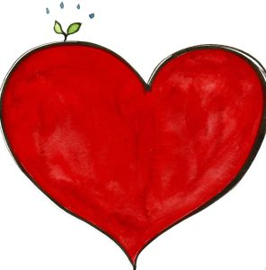 Heart with green sprout illustration