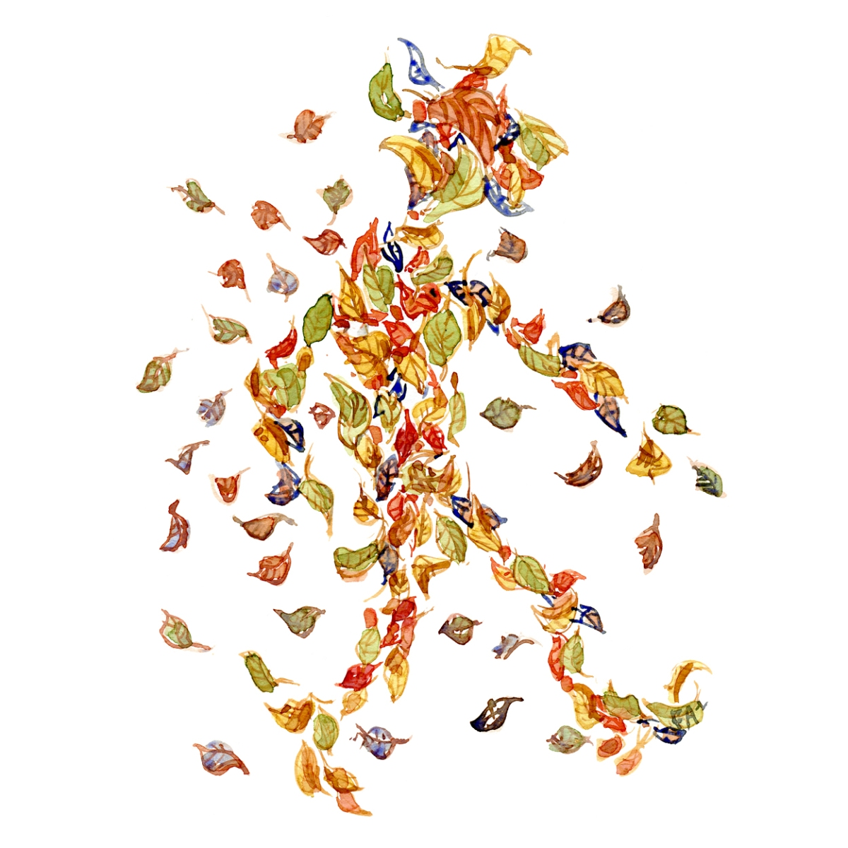 Leaves in the air looking like a person walking