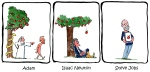 Drawing of three events, involving apples, that changed the world