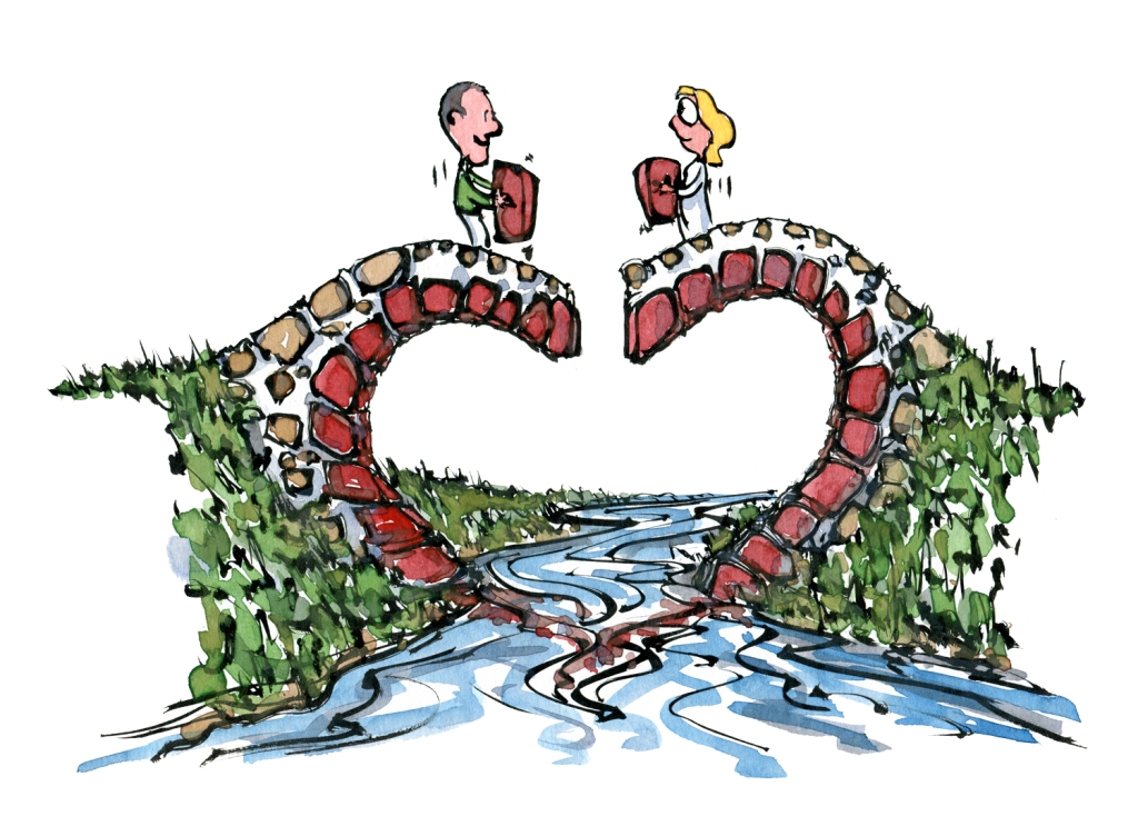 Love bridge builders, building a love shaped bridge, drawing by Frits Ahlefeldt