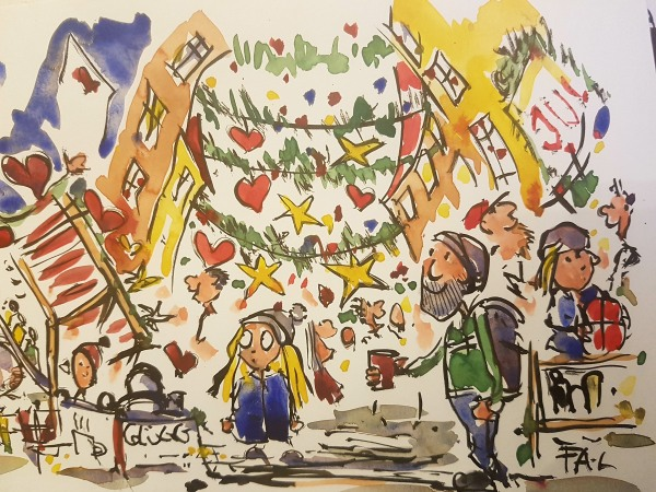 Drawing of Elmstreet in Copenhagen at Christmas event. By Frits Ahlefeldt