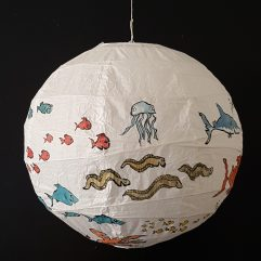 Artwork by Frits Ahlefeldt - Painting on rice paper lamp with fish illustration