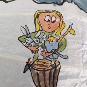 Girl with wild animals Drawing up people on wooden sticks talking about different things while the water gets higher. Sphere painting by Frits Ahlefeldt on Rice paper lamp