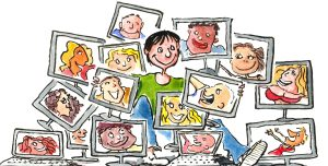 woman sitting in front of all her virtual friends