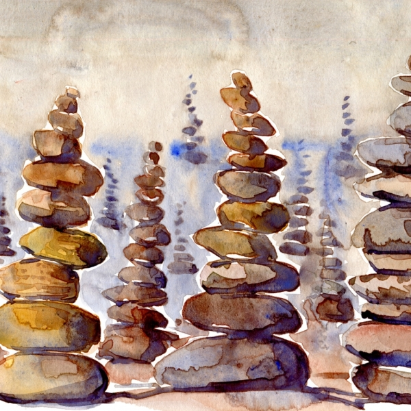Watercolor of stones put on top of each other
