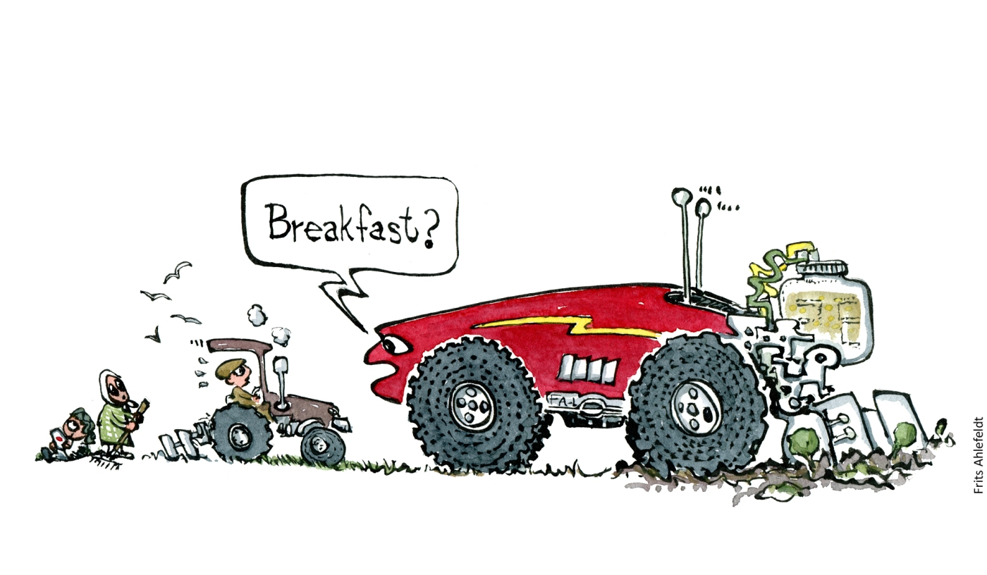 "Drawing of a huge self driving automatic, intelligent farming machine asking small traditional tractor ""breakfast?"" Illustration by Frits ahlefeldt"