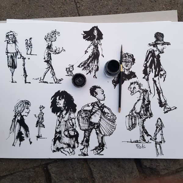 Drawing of people ink and water