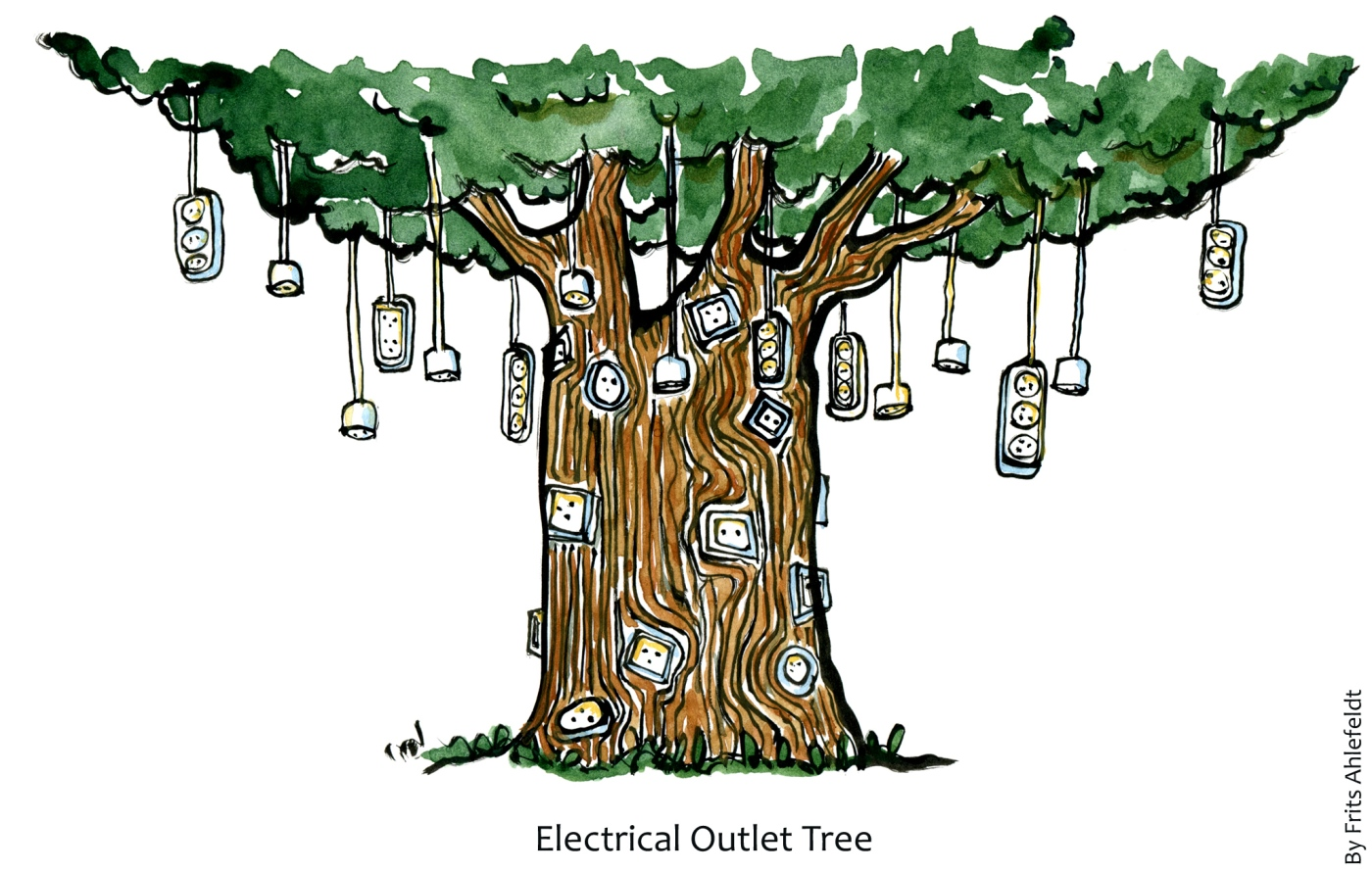 Tree with electricity outlets drawing
