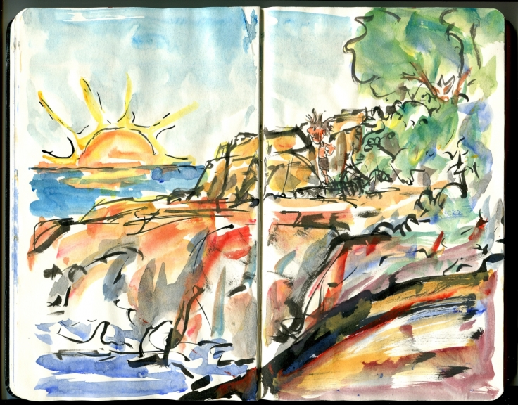 Early Morning on a Hike - Moleskine Hiking Sketch from Bornholm