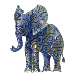 Golden blue elephant with Tattoo like patterns, artwork by Frits Ahlefeldt