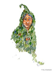 Man in clothing made of leaves Watercolor people portrait by Frits Ahlefeldt