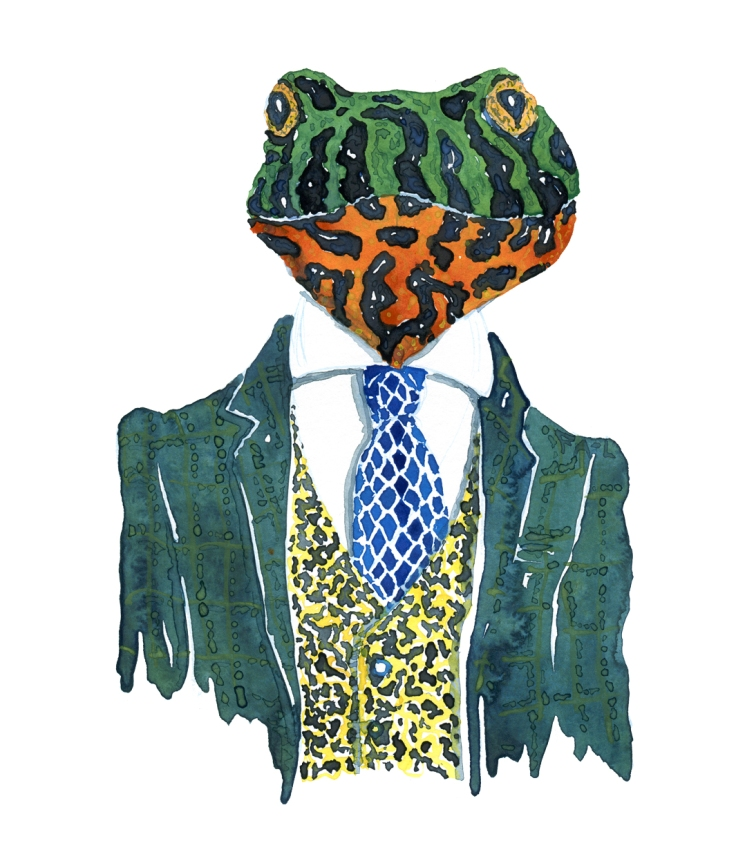 Firebellied frog in a green suit watercolor by Frits Ahlefeldt