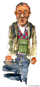watercolor of an old asian man with suitcase