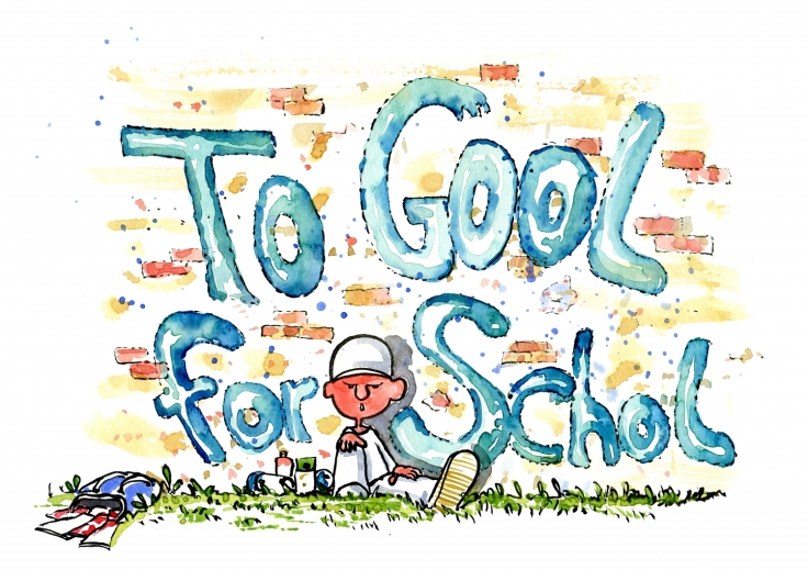 Boy that wants to write To Cool for School, but spell: to Gool For Schol